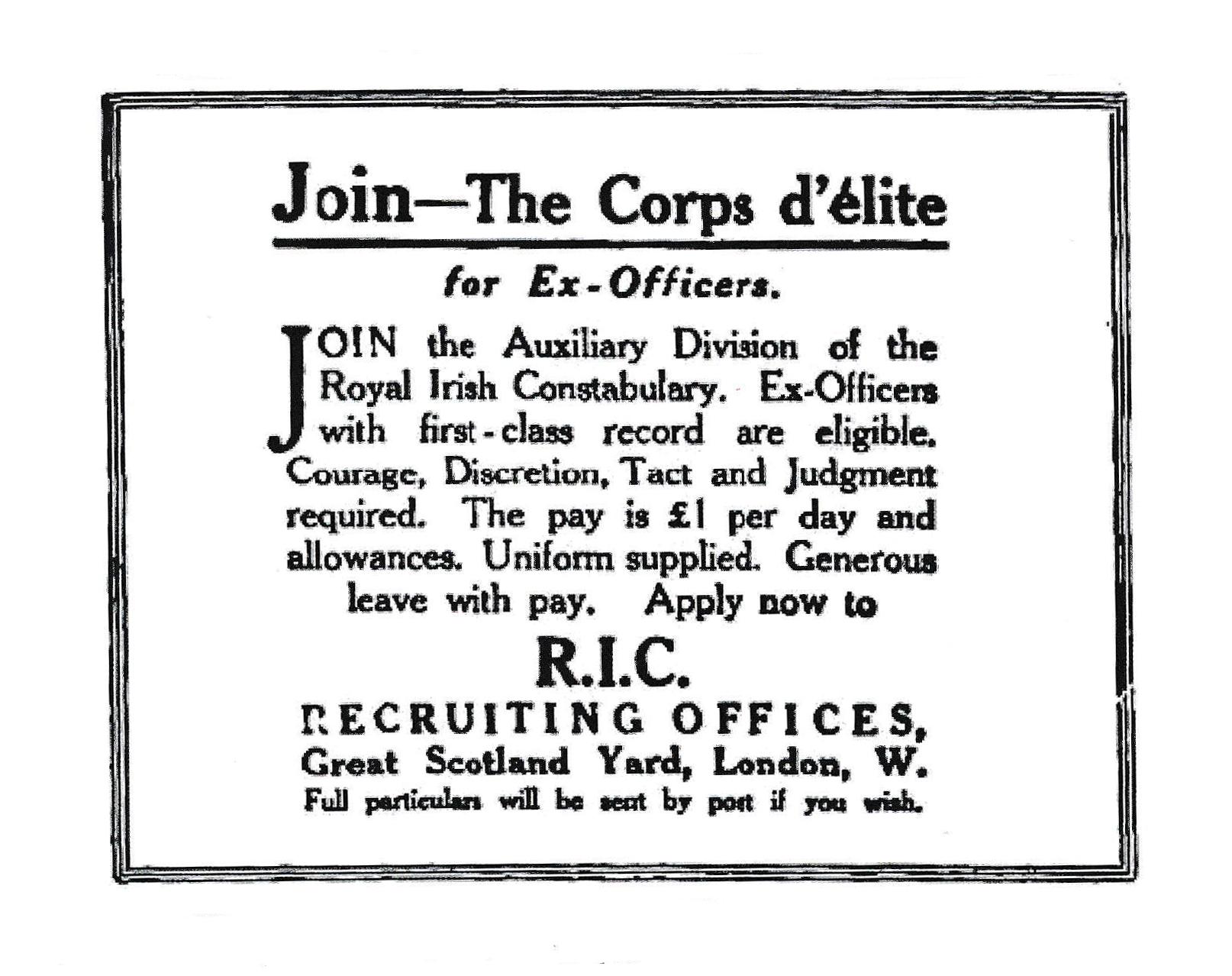 join-the-auxies-ad1920 Burning of Dublin Custom House 1921