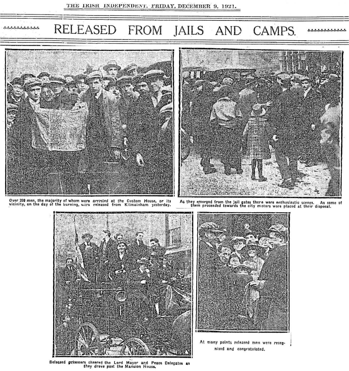 Kilmainham men released (Indo 9-12-1921)