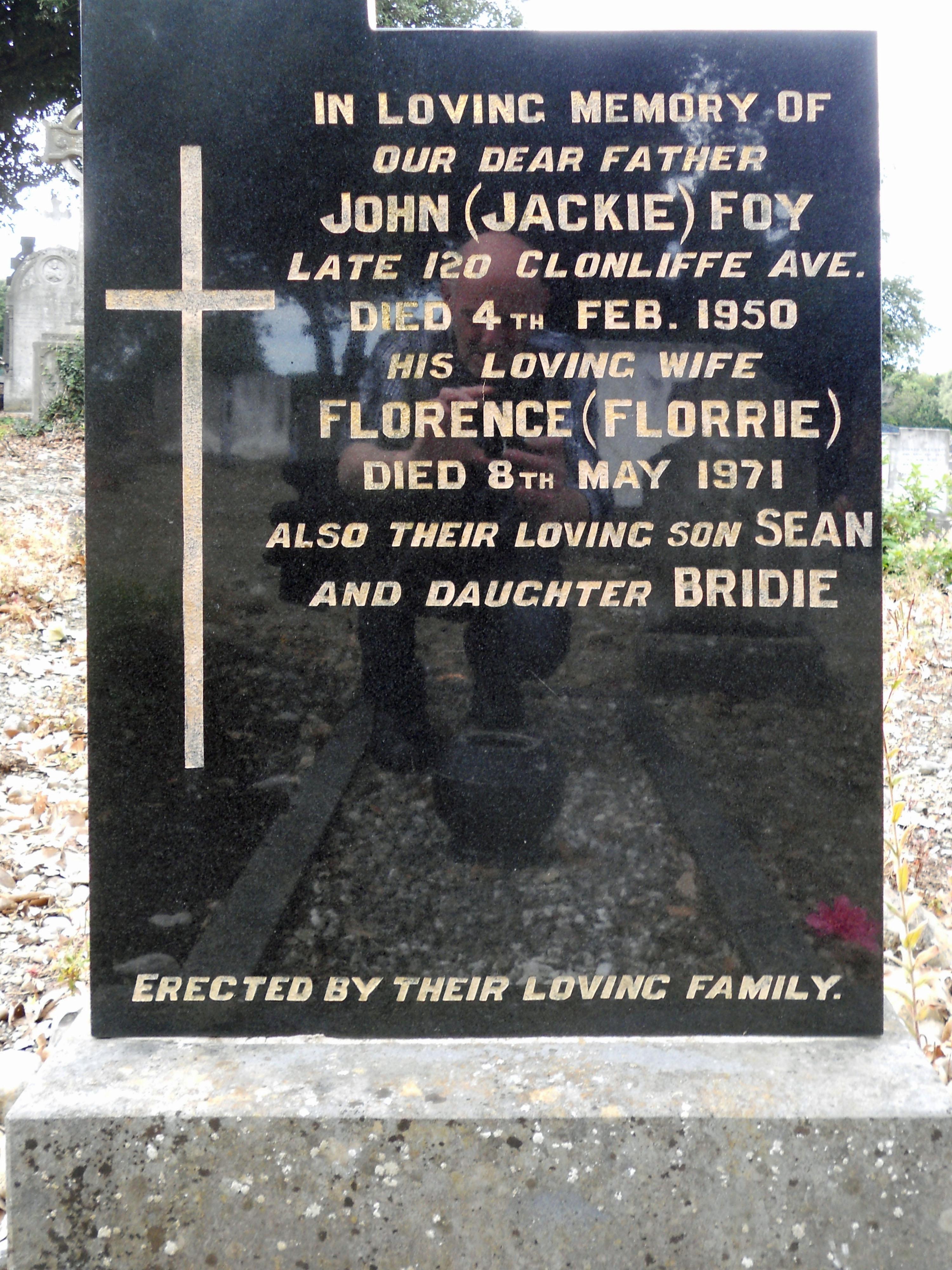 Jackie Foy headstone